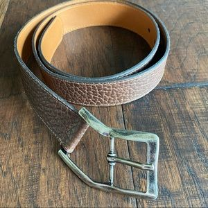 ORVIS Brown Pebbled Leather Belt, Curved Buckle